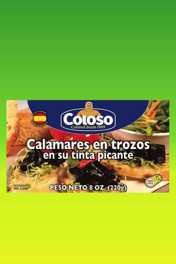Deliciosas recetas confeccionadas con calamares Coloso. La mejor calidad, a un precio a tu alcance. - Calamares en trozos en su tinta picantes